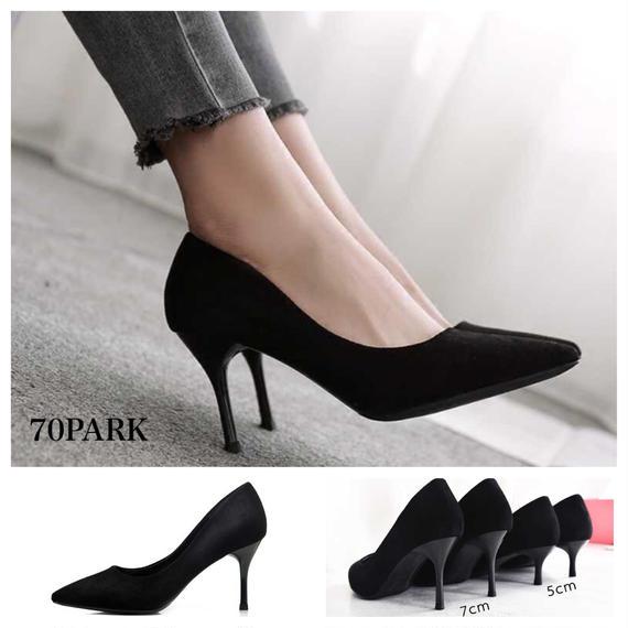 #Black Pointed Toe Heel Pumps  選べるヒール高さ! 定番 シンプル ポインテッドトゥ パンプス 全2タイプ 黒