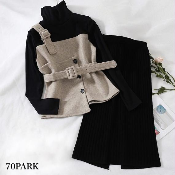 #2 Piece Knit Skirt Set ビスチェ風トップス × リブ スカート セットアップ 全2色
