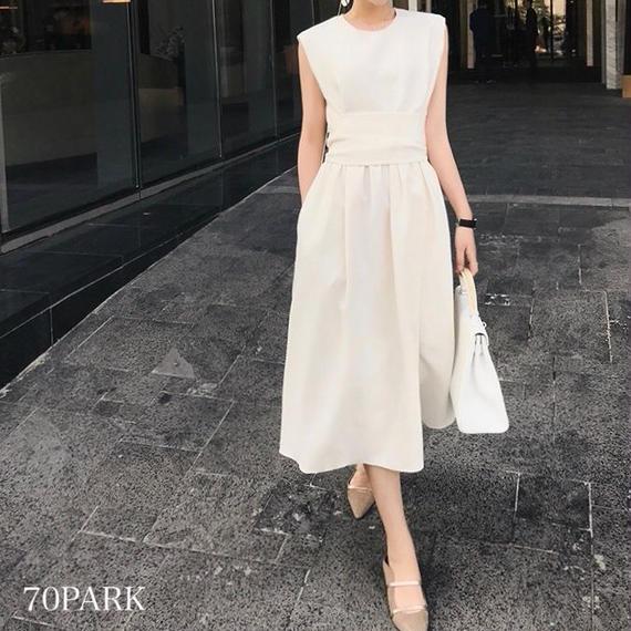 #Sleeveless Belted Dress ウエストマーク ノースリーブ ワンピース ホワイト パーティー