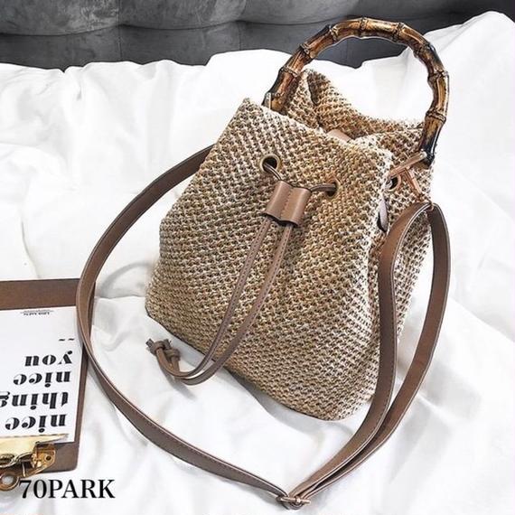 #2way Bamboo Handle basket bag バンブー ハンドル  かご バケツバッグ 全2色  カゴバッグ