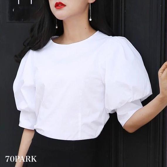 #Volume Sleeve Blouse  スーパー ボリューム袖 シャツ ブラウス ホワイト