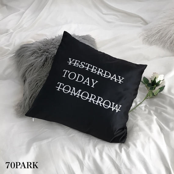 "#""Today"" Monochrome Cushion Cover  レタリング モノトーン クッションカバー 白黒"