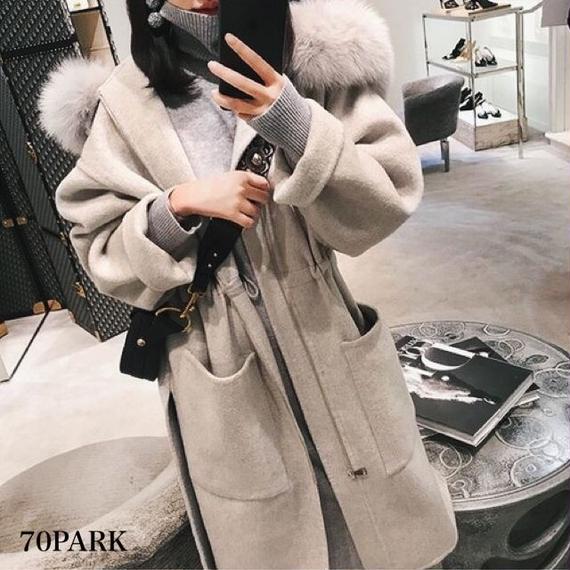 #Faux Fur Hooded Coat  エコファー フード付き  ロング コート 全3色