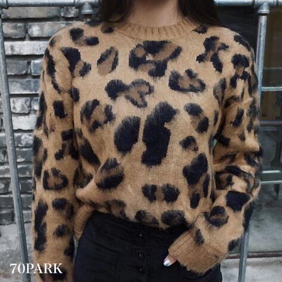 #Leopard Knit Sweater  レオパード柄 クルーネック モヘア風 ニット