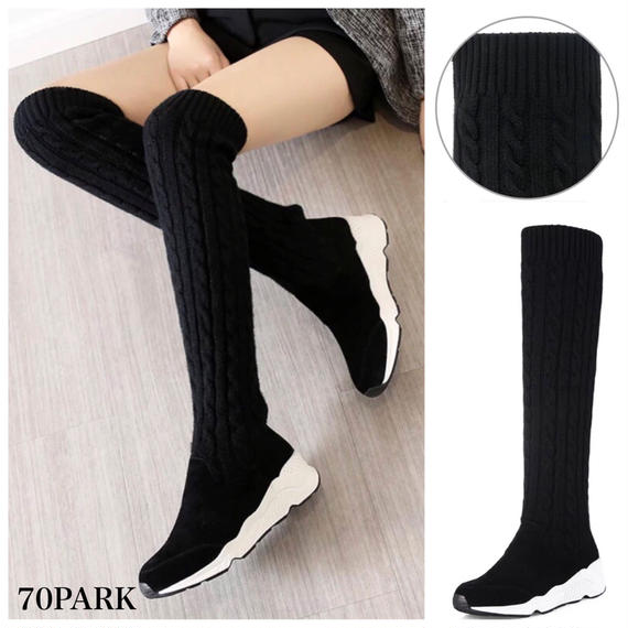 #Over The Knee  Cable Knit Sneaker Boots ケーブルニット ニーハイ スニーカー ブーツ ブラック ソックブーツ