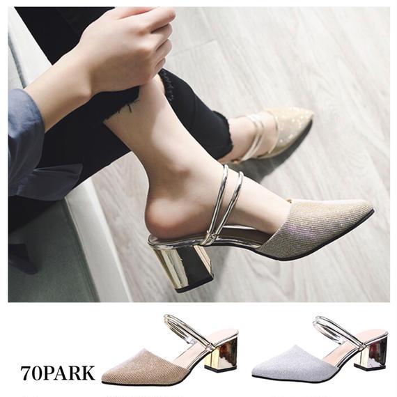 #2way Metallic Heel Sandals メタリックヒール グリッター ミュール 全2色