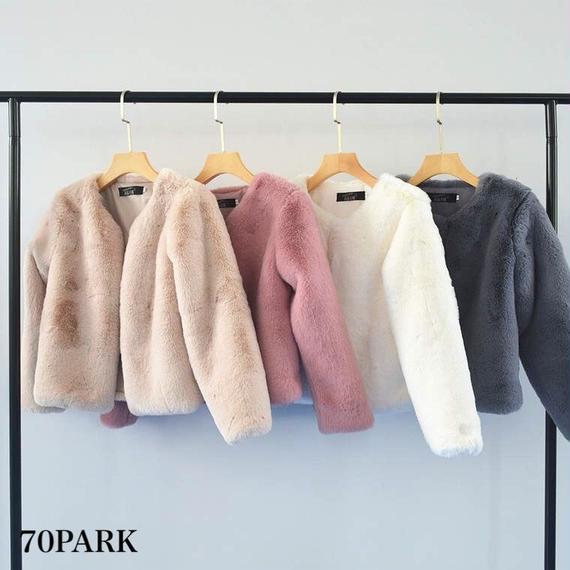 # エコファー ショート ジャケット 全4色  Eco Fur Coat