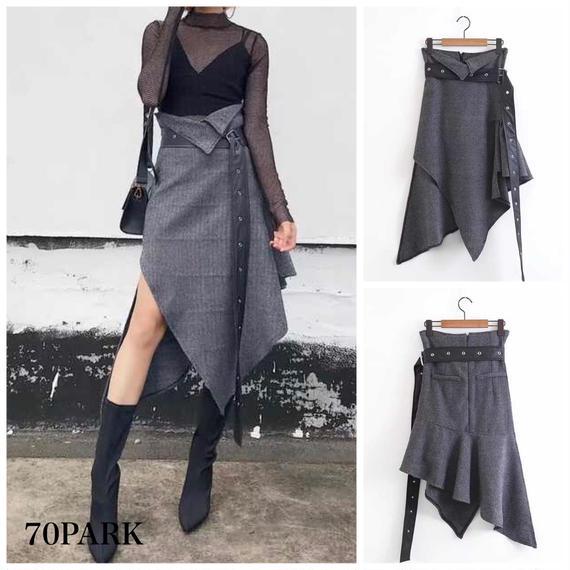 #Asymmetric Belt  High Waist  Skirt ロングベルト付 アンバランスヘム スリット スカート グレー