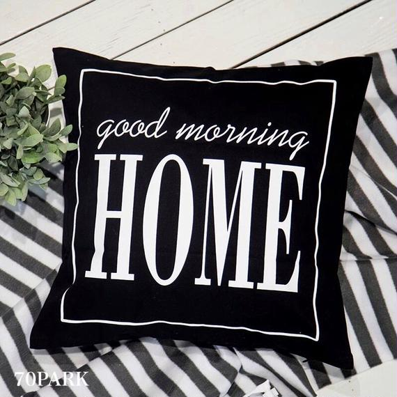 "#""Home"" Monochrome Cushion Cover ホーム レタリング モノトーン クッションカバー 白黒"