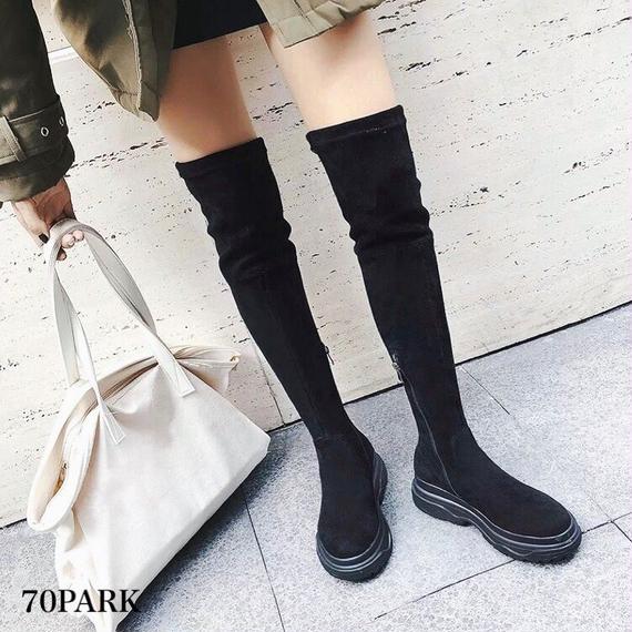 #Over The Knee Sneaker Boots ニーハイ 厚底 スニーカー ブーツ オールブラック