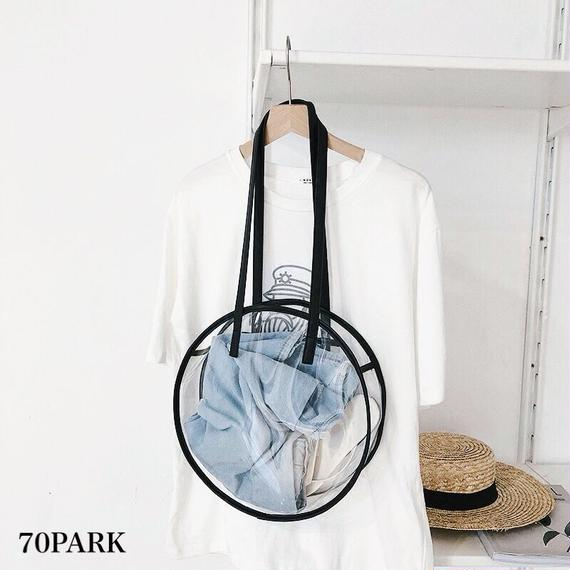 #PVC Round Shoulder Bag クリア サークル型 トートバッグ 全2色 プール