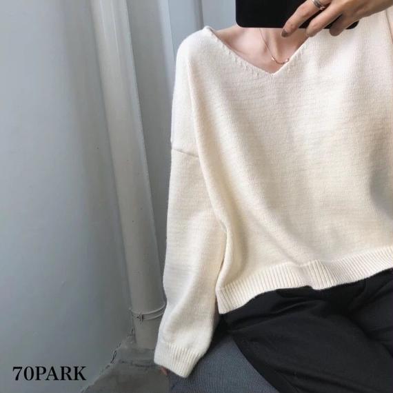 #V Neck Drop Shoulder Knit  Vネック ドロップショルダー ルーズ ニット 全5色