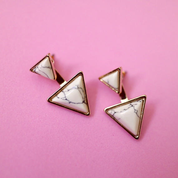 #Marble double triangle Pierced Earring 大理石風ダブルトライアングルピアス