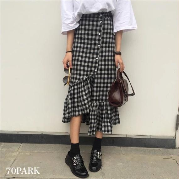 #Black Check Frill Trim Midi Skirt  ボリューム フリル ブラック チェック スカート