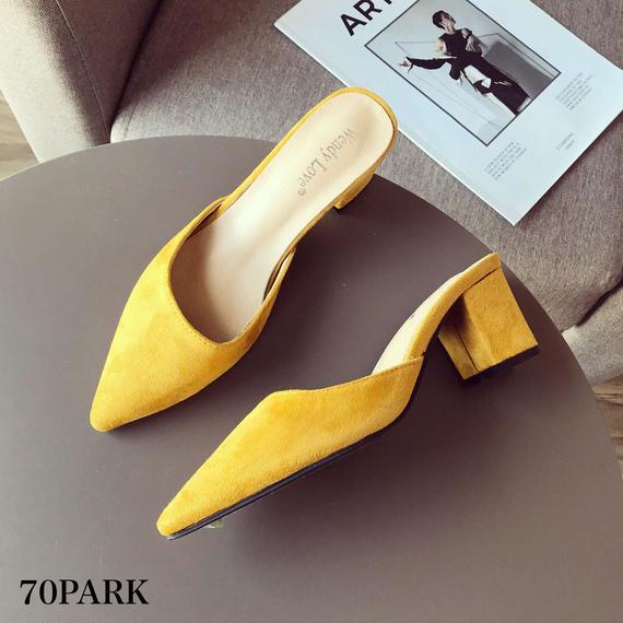 #Pointed Toe Heel Mules スエード調 ポインテッドトゥ カラー ミュール 全4色