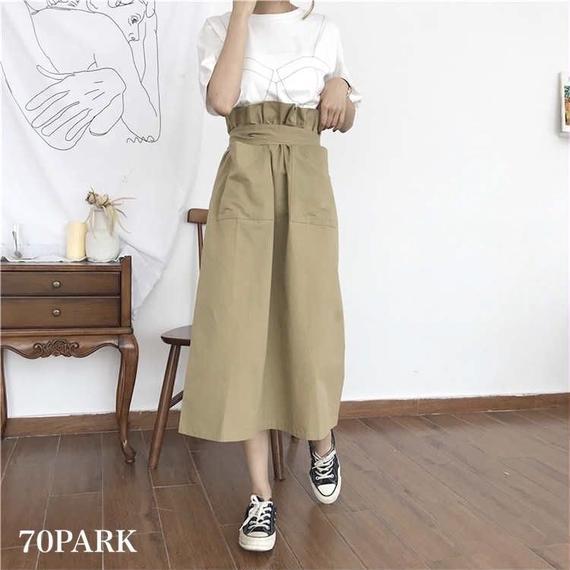 #High Waisted  Chino Skirt  ベルト付き ハイウエスト チノ スカート 全2色 ウエストマーク