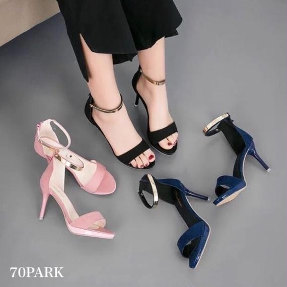 #Metallic Ankle Strap Sandals  ゴールド メタル アンクルストラップ サンダル  全3色 美脚