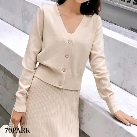#2 Piece Sweater Dress Set  ニット カーディガン × プリーツ ワンピース セット 全3色