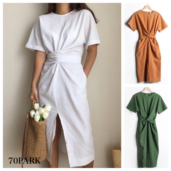 #Belted Front Slit Dress フロント スリット ウエストリボン ワンピース 全3色
