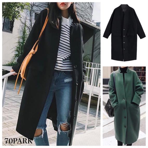 #Stand Up Collar Long Coat スタンドカラー シングル ロングコート 全2色