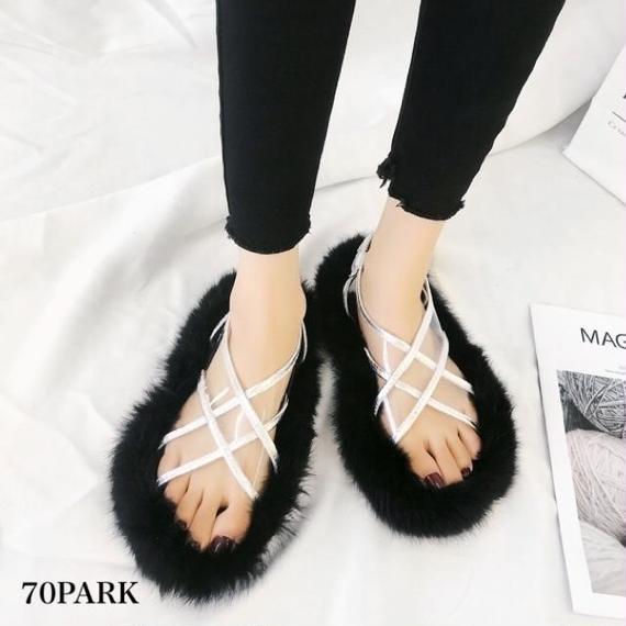 #PVC × Faux Fur Crisscross Slide ボリューム ファー ソール クロス PVC サンダル 全3色