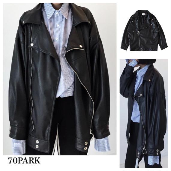 #Oversized Rider Jacket    オーバーサイズ 定番 ライダース ジャケット 黒