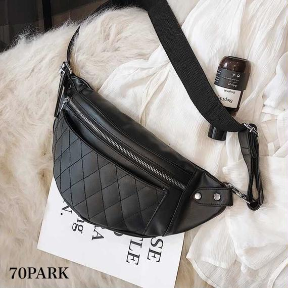 #Quilted Waist Pouch Bag  キルティング フェイクレザー ウエストバッグ 黒 ショルダー