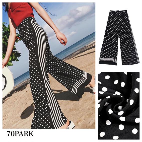 #Polka Dots Wide Leg Pants ドット × サイドライン  モノトーン ワイドパンツ リゾート
