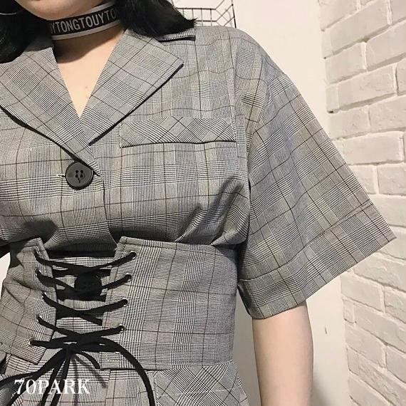 #Glen Check Open-Callor Dress   ベルト付き グレンチェック シャツ ワンピース グレー ジャケット