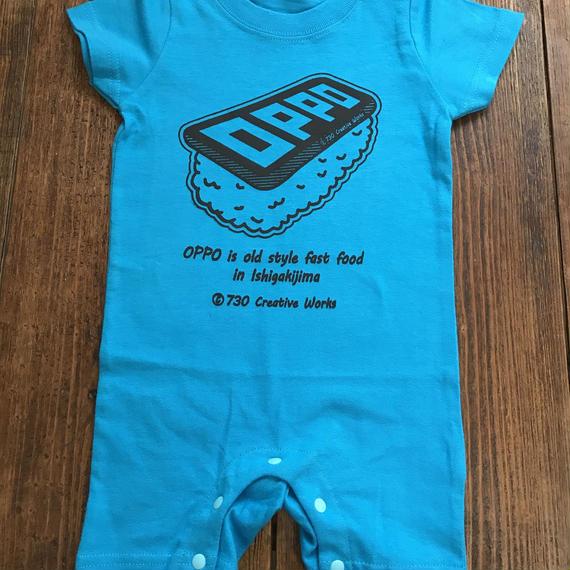 OPPO / KIDS / T-shirt  (ロンパース・ブルー) *handmade print ver.*