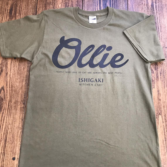 Kitchen Cart Ollie T-shirt (handmade print ver.) オリーブ