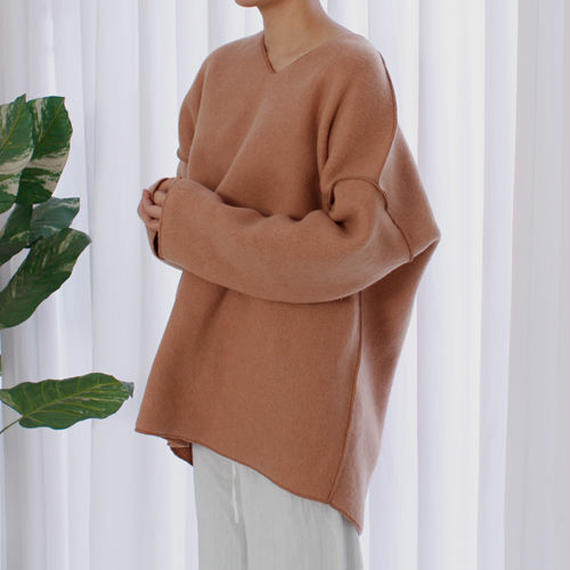 -3colors- felt wool over fit top