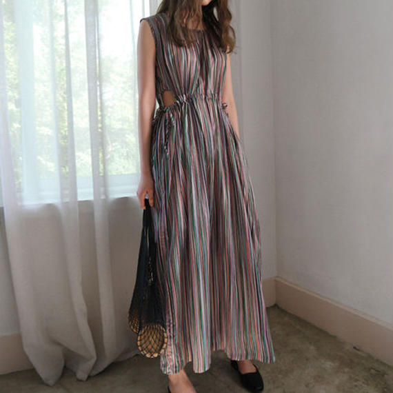 multi stripe opened waist dress