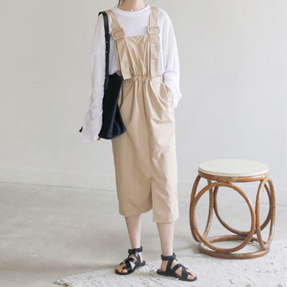 square buckle overall dress