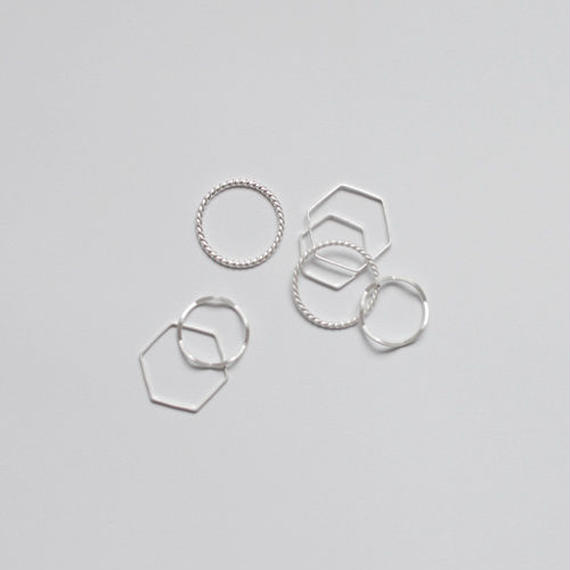 mat silver ring set (7pcs)