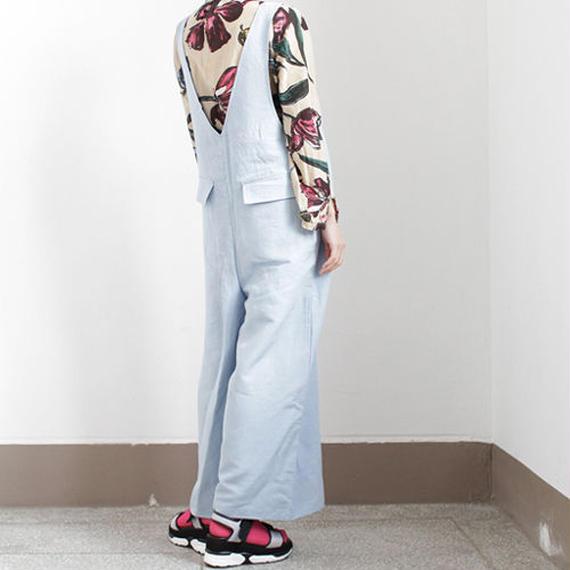 linen mix deep V-neck salopette pants