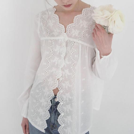 scallop lace cotton blouse