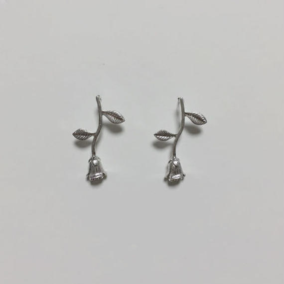 rose silver pierced earrings