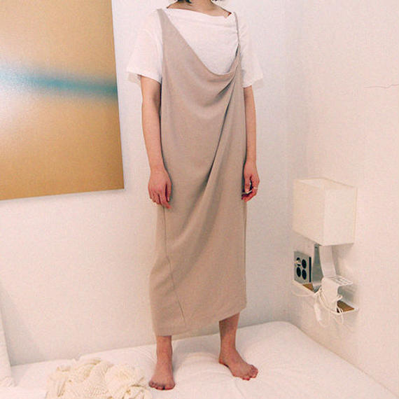 unbalance drape dress