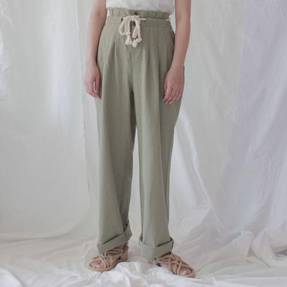 -2colors- rope belted tuck linen pants