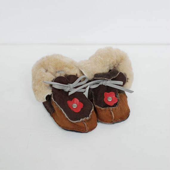 -baby- handmade fur suede shoes [flower]