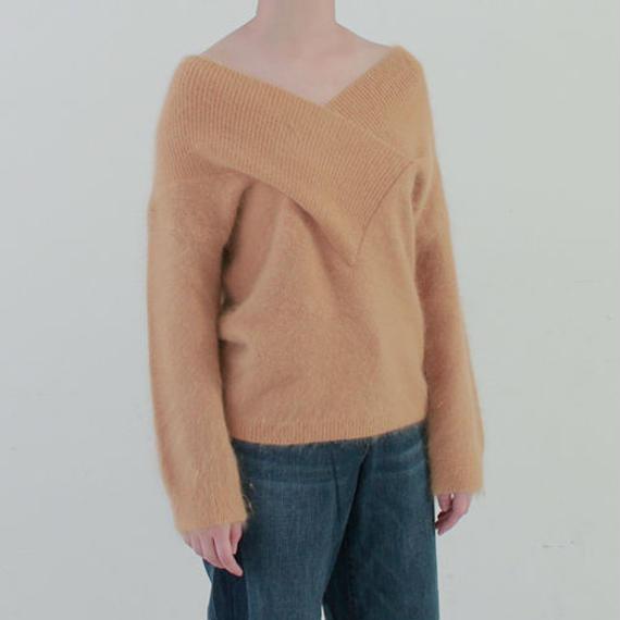 deep V neck angora knit