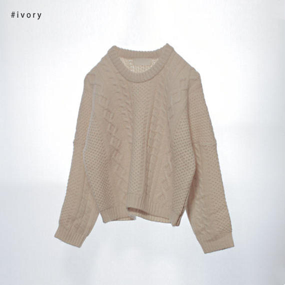 -2colors- butter cable knit