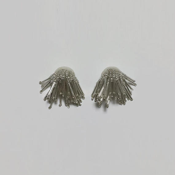 volume fringe beads pierced earrings