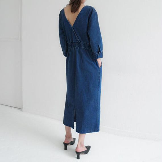 tuck  silhouette denim dress