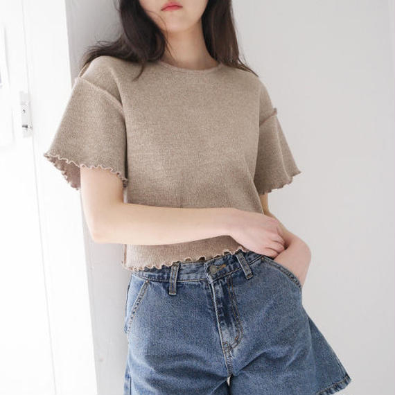 -3 colors- frill cropped top