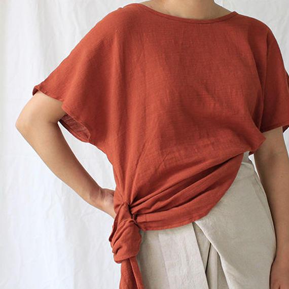 side knot linen blouse