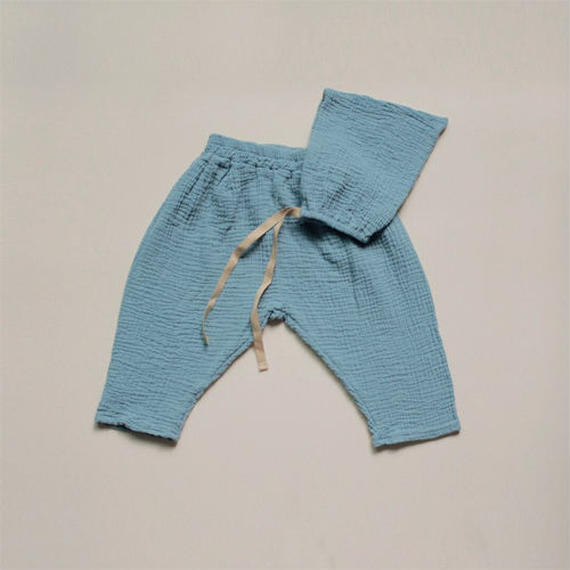 ■for baby■washed cotton gauze set (bonnet + pants)