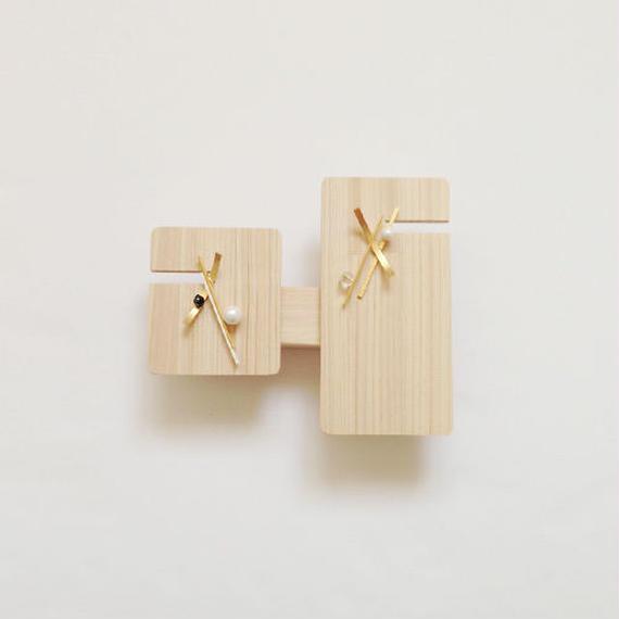 japonism line pierced earrings