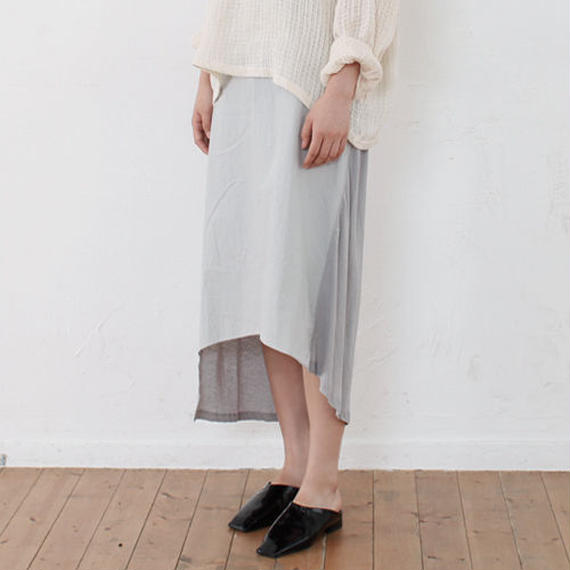 two fabrics asymmetry skirt